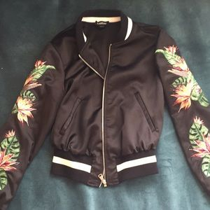 Bebe Palm & Birds of Paradise Silk Bomber